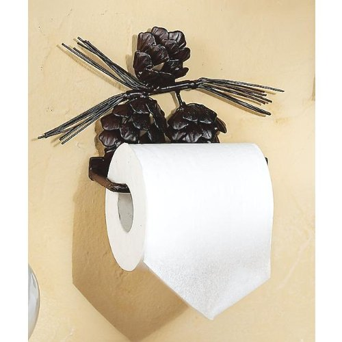 Metal Pinecone Toilet Paper Rustic Holder - Lodge Bath (Pinecone Toilet Tissue Holder)