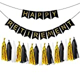 LOLOAJOY Black Happy Retirement Banner Bunting For Retirement Party Decorations With Black and Gold Party Decorations with Tassel Garland