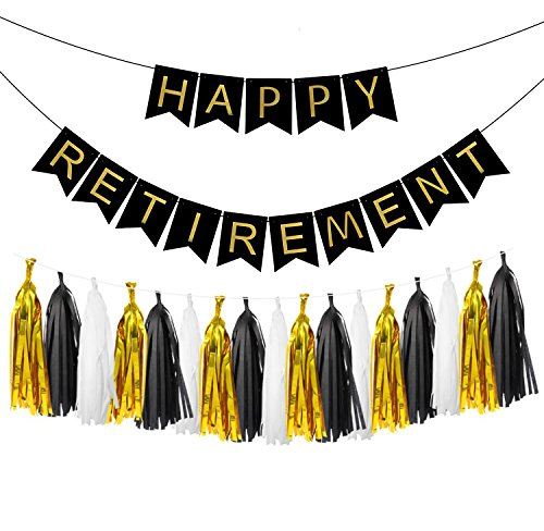 LOLOAJOY Black Happy Retirement Banner Bunting For Retirement Party Decorations With Black and Gold Party Decorations with Tassel Garland by LOLOAJOY