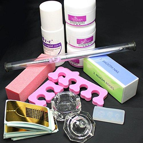 Baisidai Nail Art DIY Nail Liquid Powder Buffer Block Pen Tools Set Practice Kit - Buffer Liquid