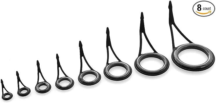 30# Stainless Steel Eye Rings Fishing Rod Guides Tips Line Repair Kit 8 Pcs 6#