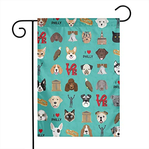 (xiaolang Welcome Garden Flag 12 X 18 Inch Philadelphia Dogs - Dogs and Philly Print - Turquoise_722 Polyester Indoor/Outdoor Double Sided Flag Home Yard Decor)