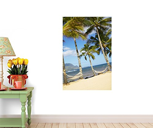 """Two Hammocks Hang between Palm Trees on Sandy Tropical Beach - 72""""H x 48""""W - Peel and Stick Wall Decal by Wallmonkeys"""