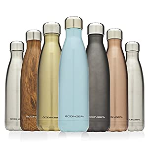 Godinger 17oz Double Wall Vacuum Insulated Stainless Steel Water Bottle, Teakwood Cup - Perfect for Outdoor Sports Camping Hiking Cycling