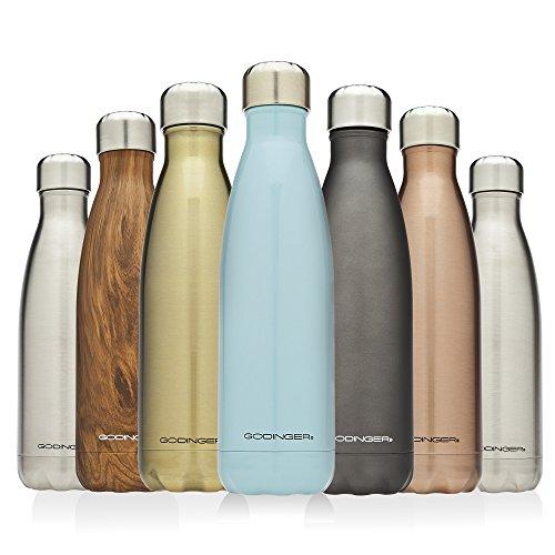 Metallic Titanium Finish - Godinger 24 -Hour Insulated Stainless Steel Water bottle , Titanium Finish ,17 Oz.