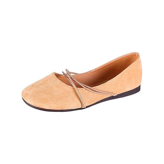 Zapatos para Mujer, 💕 RETUROM 2018 Zapatos Planos de Tacón Plano Slip-on para Mujer Zapatos de Punta Redonda y único para el Tiempo Libre: Amazon.es: Ropa ...