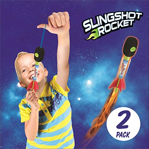 2 Pack Light Up Foam Finger Rockets, Slingshot Rocket Copters, Fun Shooting Games, for Home, Camping, Park, & Party Favor Gifts. -