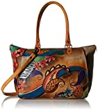 Anuschka Anna by Handpainted Leather Large Tote, Paisley Collage