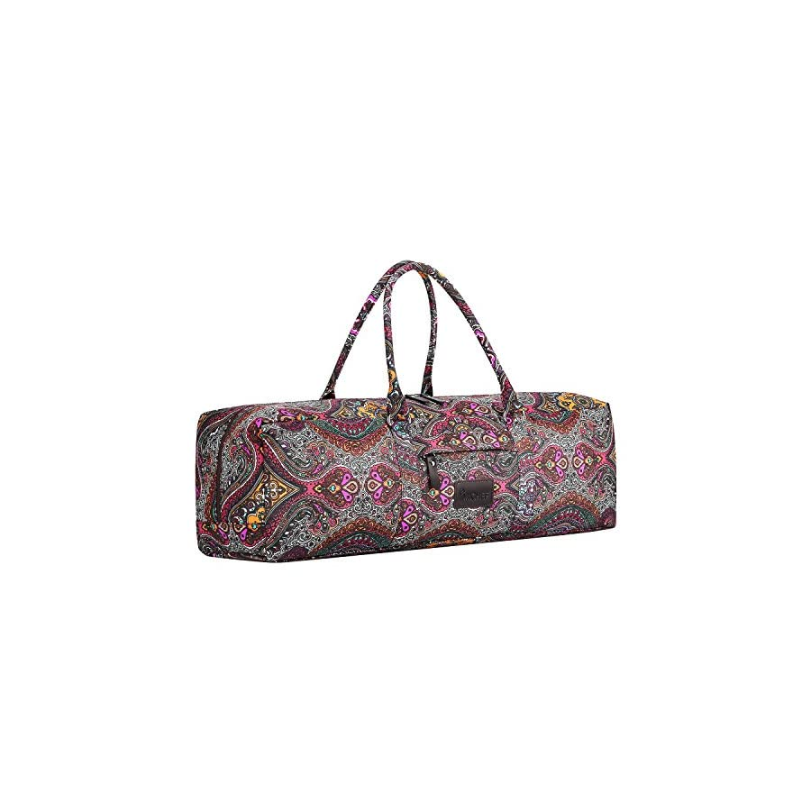 MICHEF Yoga Mat Bag Patterned Canvas Duffle Bag with Zipper and Pocket