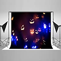 Backdrop Halloween Theme Photography Background Halloween Pumpkin Lights Backgrounds For Photography Fabric Backdrop For Photo Shoots Cotton Foldable Without Creases 7X5FT