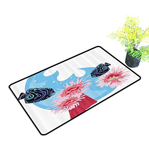 gmnalahome Extra Thick Door Mat Tropical Underwater Animals with Stripe and Lines Sea Creatures Soak Up Water and Dirt W39 x H15 INCH