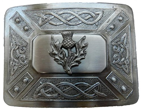 Scottish Kilt belt buckle #6 Antiqued Black Finish (Antiqued Black)