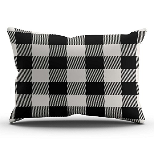 - KEIBIKE Personalized Black and Beige Preppy Buffalo Check Plaid Rectangle Decorative Lumbar Pillowcases Printed Zippered Throw Pillow Covers Cases 12x24 Inches One Sided