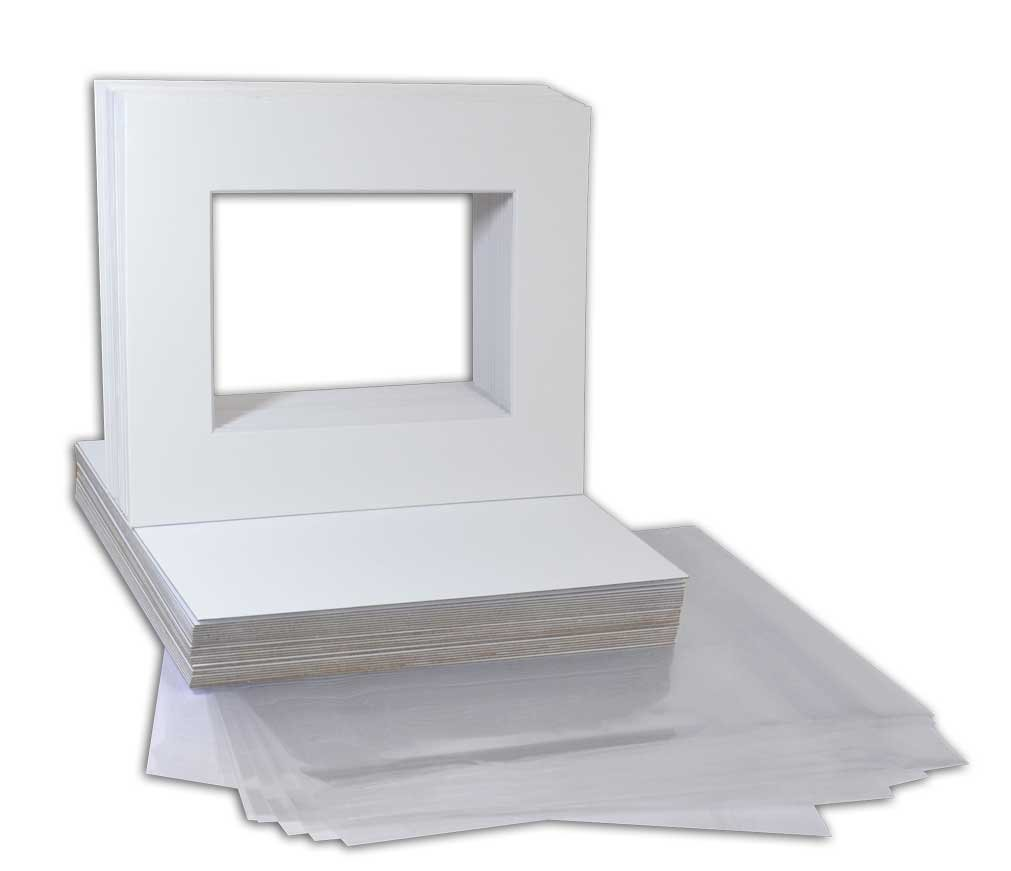 Golden State Art Pack of 25 White Pre-Cut 8x10 Picture Mat for 5x7 Photo with White Core Bevel Cut Mattes Sets. Includes 25 High Premier Acid Free Mats & 25 Backing Board & 25 Clear Bags by Golden State Art