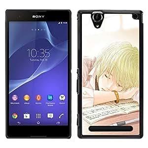 // PHONE CASE GIFT // Duro Estuche protector PC Cáscara Plástico Carcasa Funda Hard Protective Case for Sony Xperia T2 Ultra / Japanese Anime Comic School Boy /