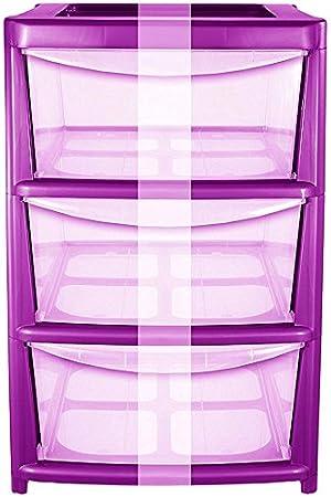 CrazyGadget Cajonera Violeta de plástico, con Ruedas para Guardar Toallas Fabricada en el Reino Unido.: Amazon.es: Jardín