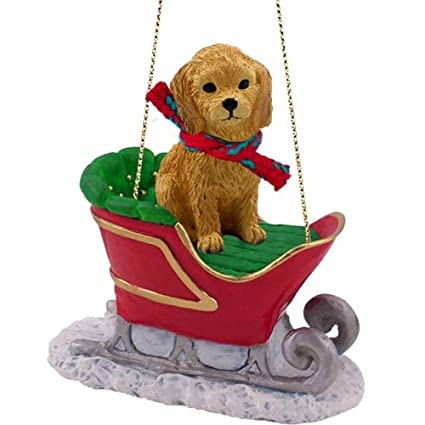 goldendoodle sleigh ride christmas ornament - Goldendoodle Christmas Ornament
