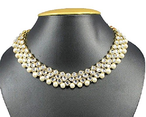 Exclusive Bollywood Wedding Wear Jewelry Gold Plated White Stone Pearl Women Necklace Set - Exclusive Jewelry