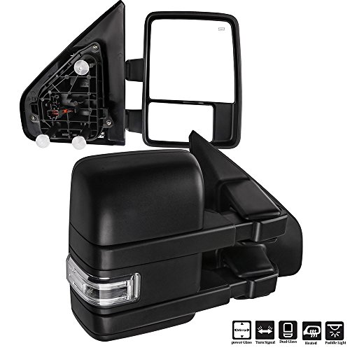 SCITOO fit Ford F150 Towing Mirrors with Puddle Light Black Rear View Mirrors fit 2004-2014 F-150 with Turn Signal Lights Power Control Heated Manual Telescoping and Folding Features