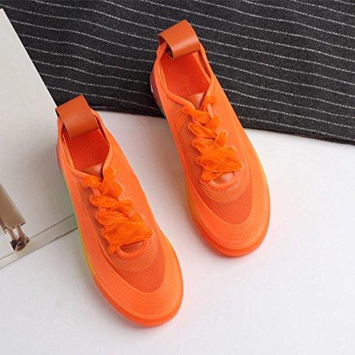 QQWWEERRTT Frauen Schuhe Neue Mode Wilde Spitze Einzelne Schuhe Epoxy Epoxy Epoxy Regenbogen Dick-Soled Freizeitschuhe Plateauschuhe Frauen 659b91