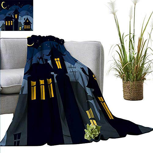 AndyTours Travel Throw Blanket,Halloween,Old Town with Cat on The Roof Night Sky Moon and Stars Houses Cartoon Art,Black Yellow Blue,300GSM, Super Soft and Warm, Durable 60