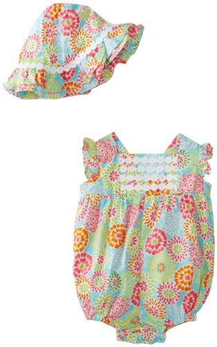 Hartstrings Baby-girls Newborn Poplin Bubble Romper and Hat Set