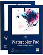 60 Sheets 9 X 12 Watercolour Paper (140lb/300gsm) Fold Over Design Cold Press Watercolor Pad - 2 Pack Water Colour Paper