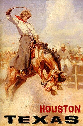 "RODEO HOUSTON TEXAS COWGIRL HORSE BRONC RIDING 20"" X 30"" VINTAGE POSTER REPRO MATTE PAPER WE HAVE OTHER SIZES"