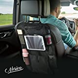 Backseat Car Organizer - LARGE Multi-Pocket Car Seat Organizer Storage Bag with iPad Holder and Adjustable Clip Straps, Back Seat Car Organization for Kid's Toy, Files or Other Travel Accessories