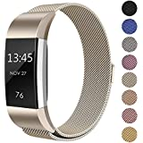 """Swees For Fitbit Charge 2 Bands Metal Small & Large (5.5"""" - 9.9""""), Milanese Stainless Steel Magnetic Replacement Wristband for Fitbit Charge 2 Women Men, Silver, Champagne, Rose Gold, Black, Colorful"""