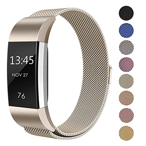SWEES for Fitbit Charge 2 Bands Metal Small & Large (5.5'' - 9.9''), Milanese Stainless Steel Magnetic Replacement Wristband for Fitbit Charge 2 Women Men, Silver, Champagne, Rose Gold, Black, Colorful by SWEES