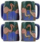Mara Stoneware Set Of Four (4) MARA STONEWARE COLLECTION - 12 Oz. Coffee Cup Collectible Square Mugs With Countertop Stackable Mug Post - Pink Flamingo Bird