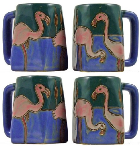 (Mara Stoneware Set Of Four (4) MARA STONEWARE COLLECTION - 12 Oz. Coffee Cup Collectible Square Mugs With Countertop Stackable Mug Post - Pink Flamingo Bird)