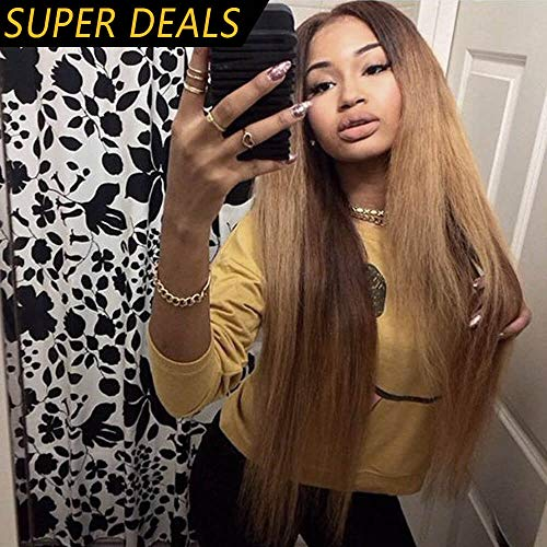 Best Long Middle Part Wig Ombre Honey Blonde for Women or Girls Cosplay Daily Party Cheap Heat Resistant Synthetic Full Wigs Straight Real Fiber Wig (Not Human Hair) Half Hand Tied 24In Free Wigs Cap