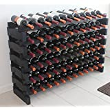Stackable Modular Wine Rack Stackable Storage Stand Display Shelves, Wobble-Free, Pine wood, WN85 (BLACK-72 Bottle Capacity)
