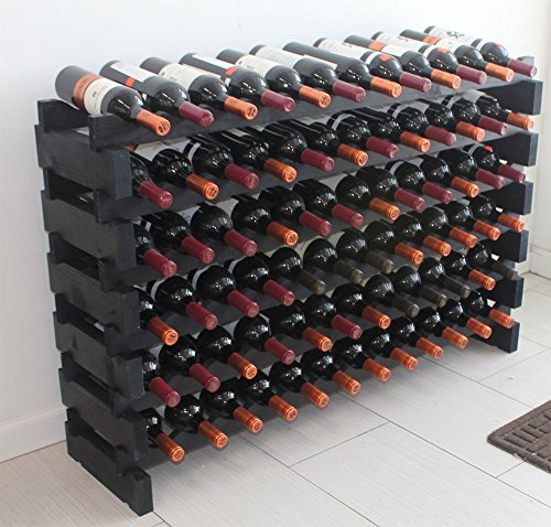 Stackable Modular Wine Rack Stackable Storage Stand Display Shelves, Wobble-Free, Pine wood, WN85 (BLACK-72 Bottle (Stackable Wood Wine Racks)