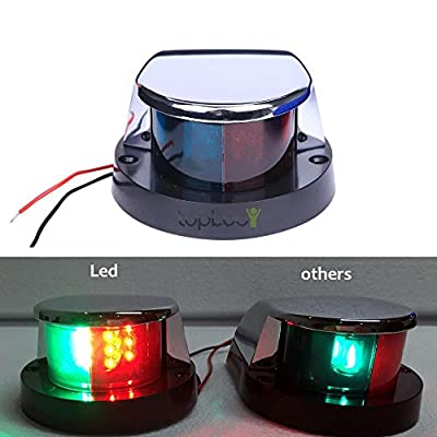 DC 12V Marine Boat LED Bi Color Bow Navigation Light Red Green Lenses