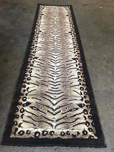 Americana Tiger & Leopard Zebra Animal Skin Print Runner Design 130 (2 Feet X 7 Feet 3 Inch)
