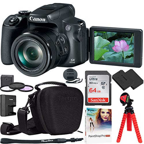 Canon PowerShot SX70 HS 20.3MP 65x Optical Zoom Digital Point & Shoot Camera Bundle with 64GB Memory Card, Camera Case, Replacement Battery, 67mm Filter Kit, Paintshop Pro 2018 and Spider Tripod