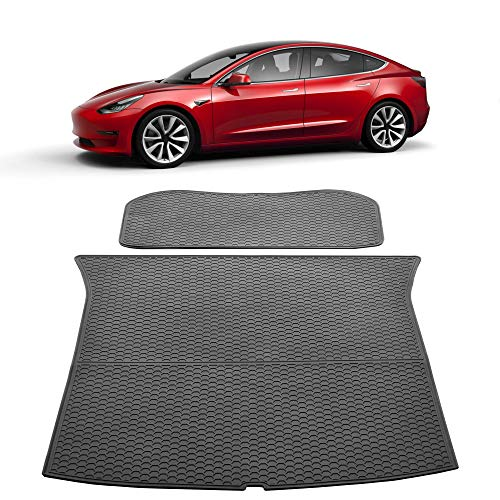 TOPlight Tesla Model 3 Trunk Mat All Weather Waterproof Trunk Cover Protectors Front and Rear Car Carpet Cargo Mat- Heavy Duty - Black Rubber Environmental Materials Trunk Liner