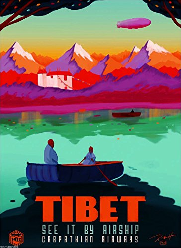 MAGNET Tibet See it by Airship China Chinese Orient Travel Advertisement Magnet