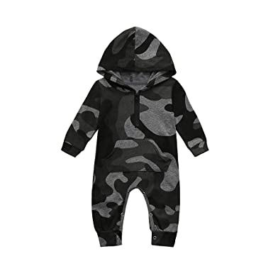 1d570670b Amazon.com: ❤ Mealeaf ❤ Infant Baby Boys Girls Camouflage Print Hooded  Romper Jumpsuit Clothes Outfits 3-18 Months: Clothing