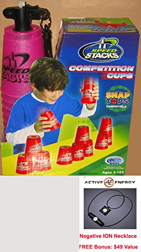 PINK Speed Stacks Competition Cups, Set of 12 Plastic Cups and Active Energy Power & Balance Necklace $49 Value