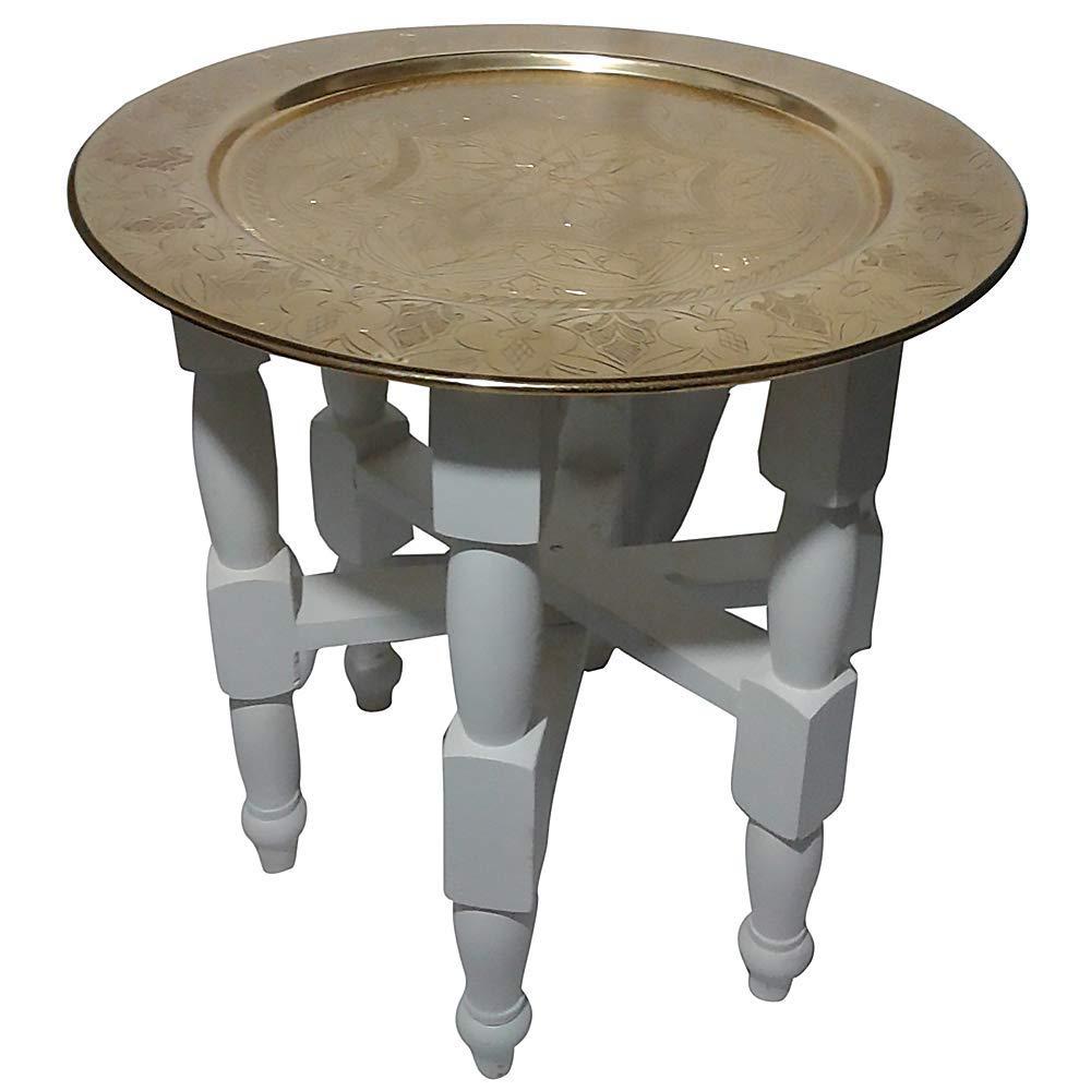Mesa de madera blanca con bandeja de oro marroquí: Amazon.es ...