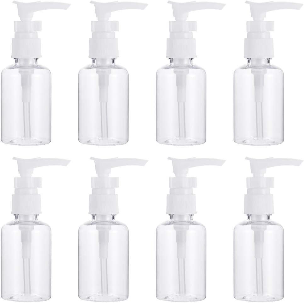 Hugttt 8 botellas de viaje de 50 ml, dispensador de botellas de plástico transparente