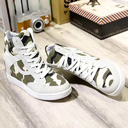 Beige Shoes Canvas Top High Boot Increased Inkach Casual Shoes Womens Height Ladies P4qfAgw