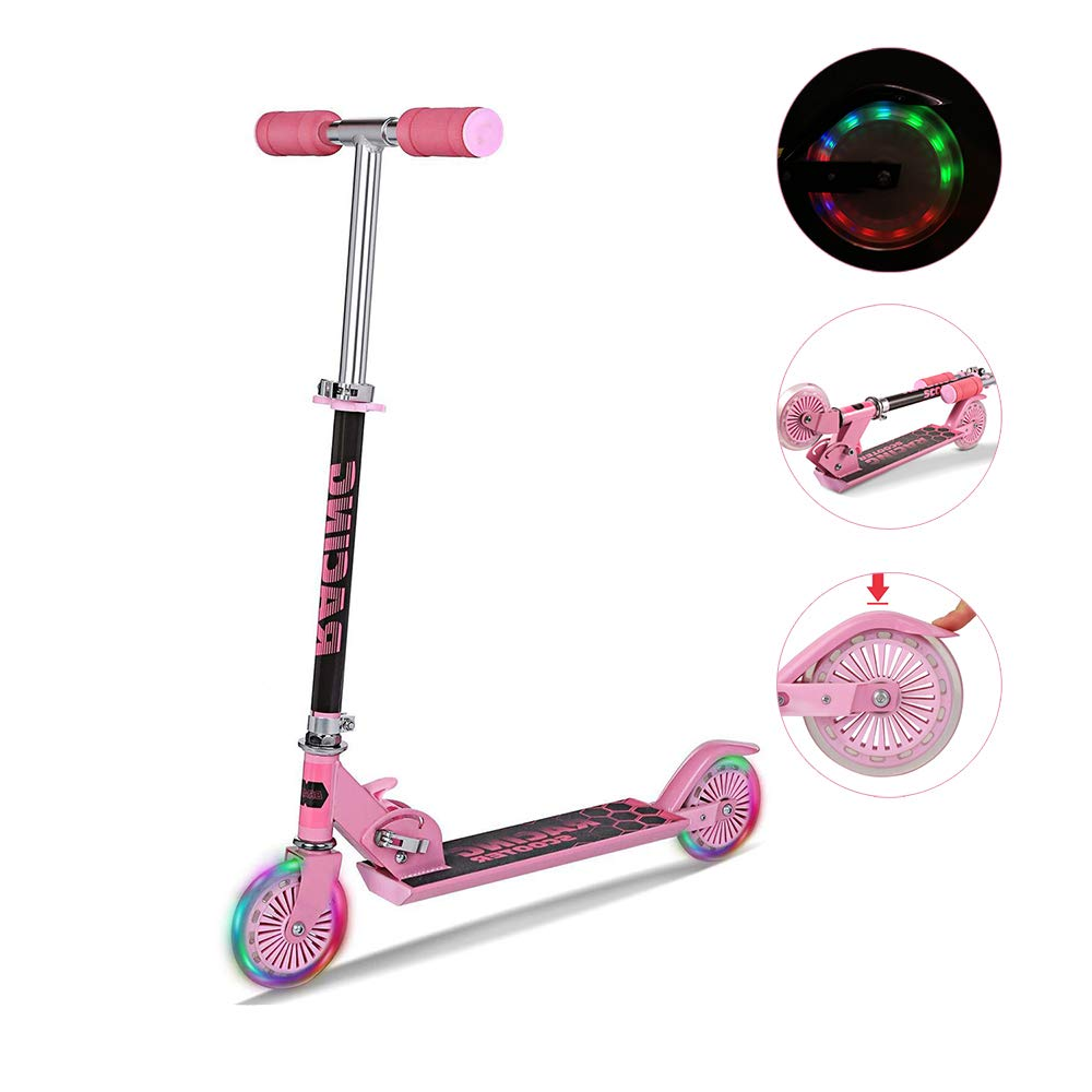 Mini Kick Scooter with Light Up Wheels, Adjustable Height Folding Scooters for Kids Xmas Gifts, Ages 3-17 Years (US Stock) (Pink)