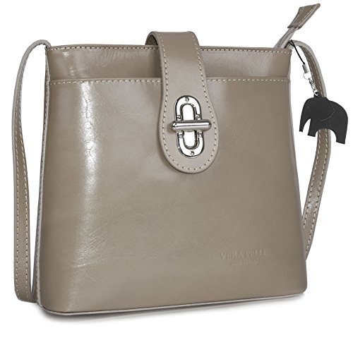 LiaTalia Genuine Italian Leather Cross Body Shoulder Handbag with Protective Storage Bag