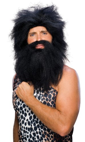 [Rubie's Costume Characters Caveman Beard And Set Wig, Black, One Size] (Black Men Halloween Costumes)