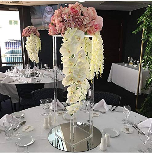 Everbon Set of 5 25.6 Inch Tall Decorative Wedding Columns Pillars Acrylic Clear Wedding Flower Stands Bouquet Decorations Centerpiece Vase for Event Party Home Decor